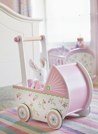 Role Play, Posy Pram, Pink Toys, Indoor Toy, Outdoor Toy, Dolls, Wooden Toys, Flowery Toys