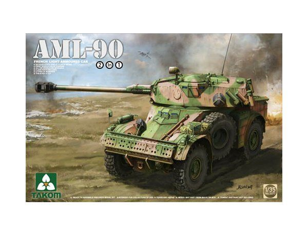 The Takom 1/35 French Light Armoured Car AML-90 from the plastic tank model kits range accurately recreates the real life French recon vehicle.