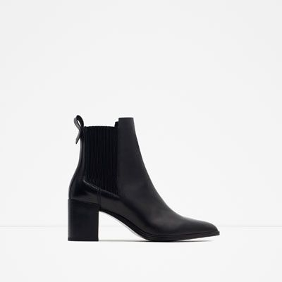 Image 1 of HIGH HEEL LEATHER ANKLE BOOTS WITH STRETCH DETAIL from Zara