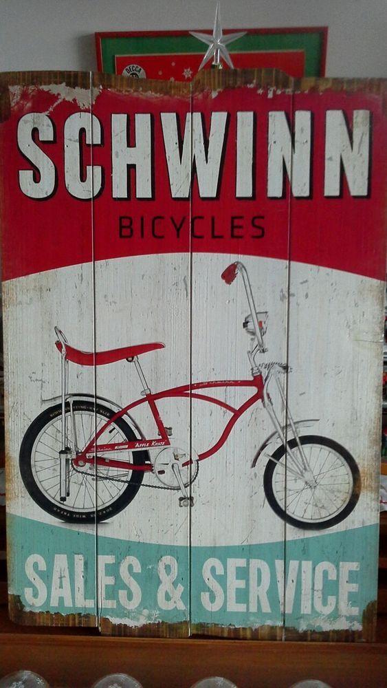 SCHWINN BICYCLE SALES & SERVICE WOOD SIGN apple krate