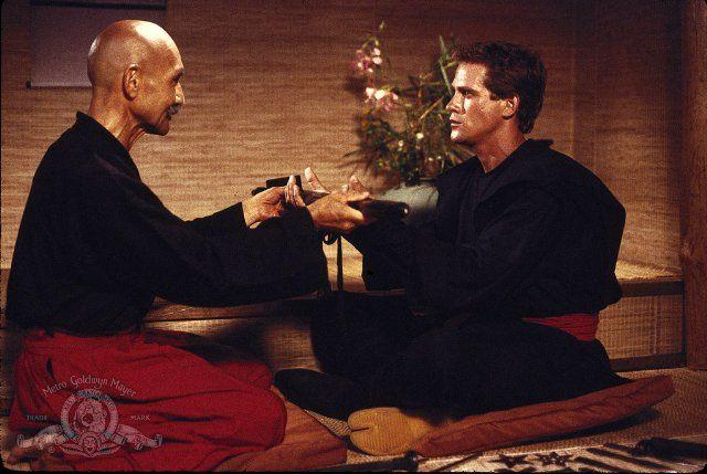 Still of Michael Dudikoff and John Fujioka in American Ninja (1985)