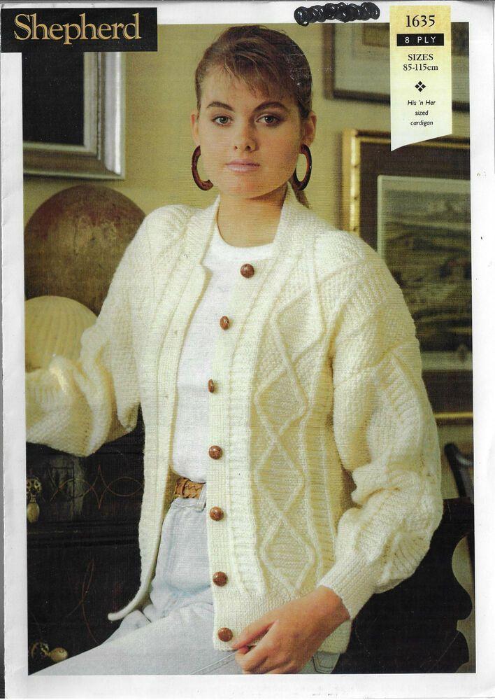 ccfe1c352 Men   Women s Cable Textured Cardigan Shepherd 1635 knitting pattern 8 ply  yarn  Shepherd