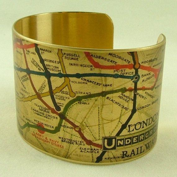 Vintage London Underground Railways Map Brass by JezebelCharms, $40.00