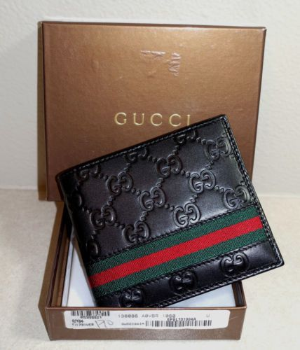 6d42c32cf3ab42 New Gucci Authentic Mens Black Bi fold Guccissima Wallet w/ Coin Pocket w/ Box. Gucci!! Mens Black Bi fold Web Strip Guccisima Wallet with Box