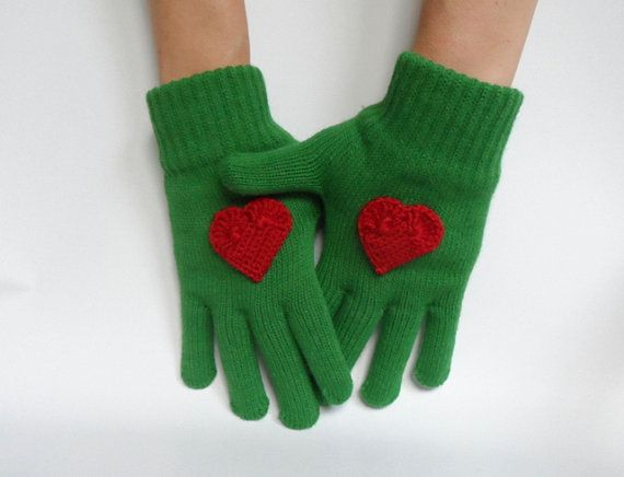 Green Gloves with Crochet Red Heart Women Gloves by fizzaccessory www.etsy.com/listing/170365566