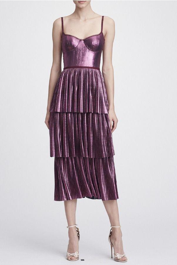 ee1477d4 Marchesa Notte N27C0772 Lilac Sleeveless Pleated Metallic Lame Midi Dress |  Poshare