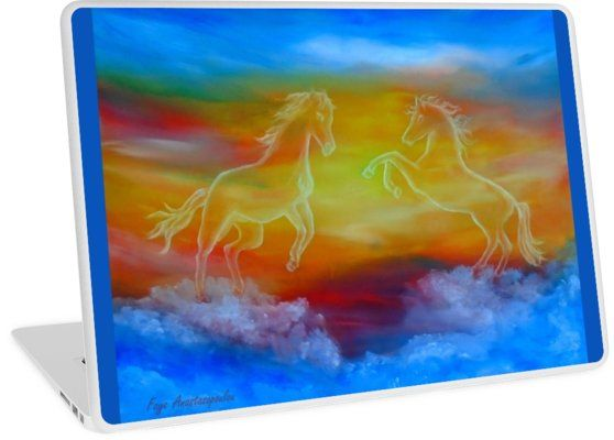 Laptop Skin,   horses,sky,blue,colorful,magical,majestic,impressive,fantasy,unique,cool,beautiful,trendy,artistic,unusual,accessories,design,items,products,for sale,redbubble