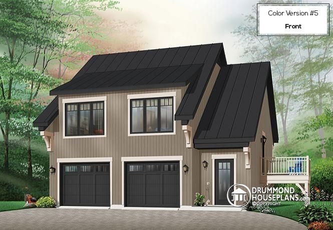 2-CAR RUSTIC GARAGE PLAN   Garage apartment house plan with 2 bedrooms, open floor plan and balcony (# 3933)  http://www.drummondhouseplans.com/house-plan-detail/info/morgan039s-walk-american-1001724.html