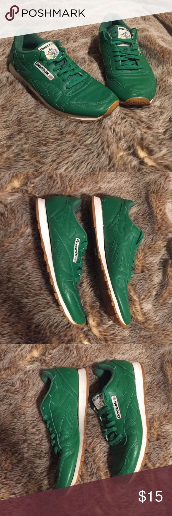 Retro green Reebok classics Reebok Classics. Have some wear to them but these are so retro and cool! It does look like the soles may have been glued on... not sure if this is how they were manufactured or if the previous owner did this (I bought them used at a vintage shop). May need additional glue at some point to make sure the sole stays on. Please be aware of this before you decide to purchase. Ask any questions! Reebok Shoes Sneakers