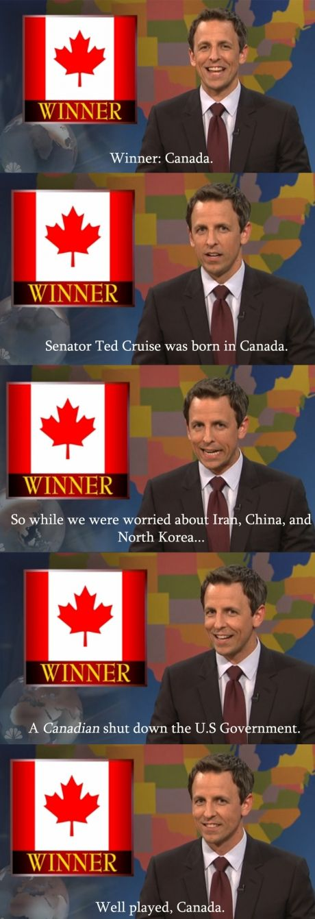 They misspelled Ted Cruz, but the Canada part is funny.