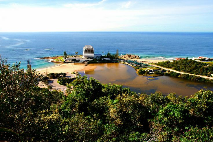 A view from a pretty view point in Plettenberg Bay, South Africa, of the Beacon Isle Hotel.