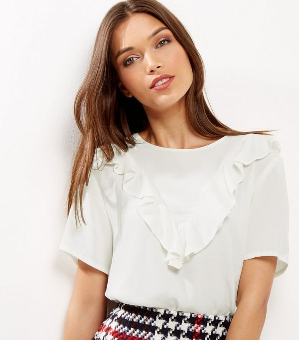 White Frill Trim Short Sleeve T-shirt  | New Look