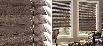 Parkland® Weathered Parkland® Weathered Wood Blinds offer a range of stains with an intricate wire-brushed texture on abachi wood, featuring today's most popular colors. Parkland Weathered blinds bring surface texture and depth to the window.
