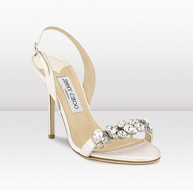 Jimmy Choo 'Lotus' satin sandal with delicate display of crystals.