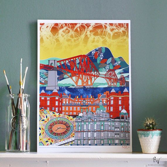 Scenes of Edinburgh Print (A3 or A4 size) Featuring the Forth Rail Bridge, Holyrood Palace, Princes Street Floral Clock and Bank of Scotland