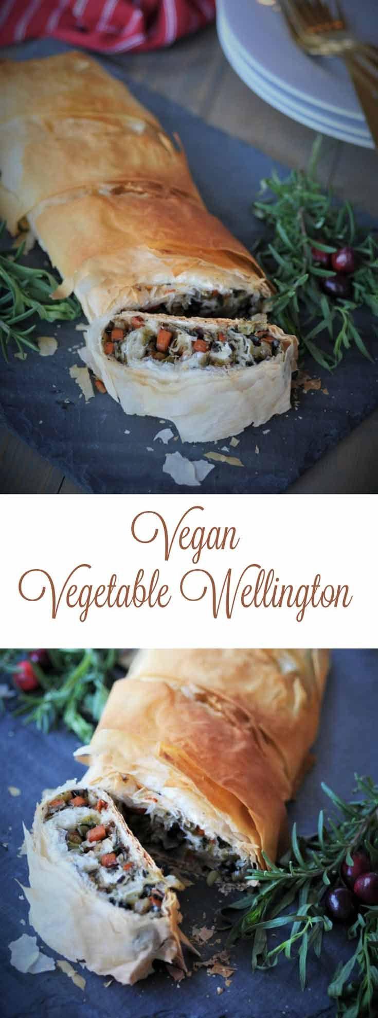Vegan Vegetable Wellington Pinterest Pin with two…