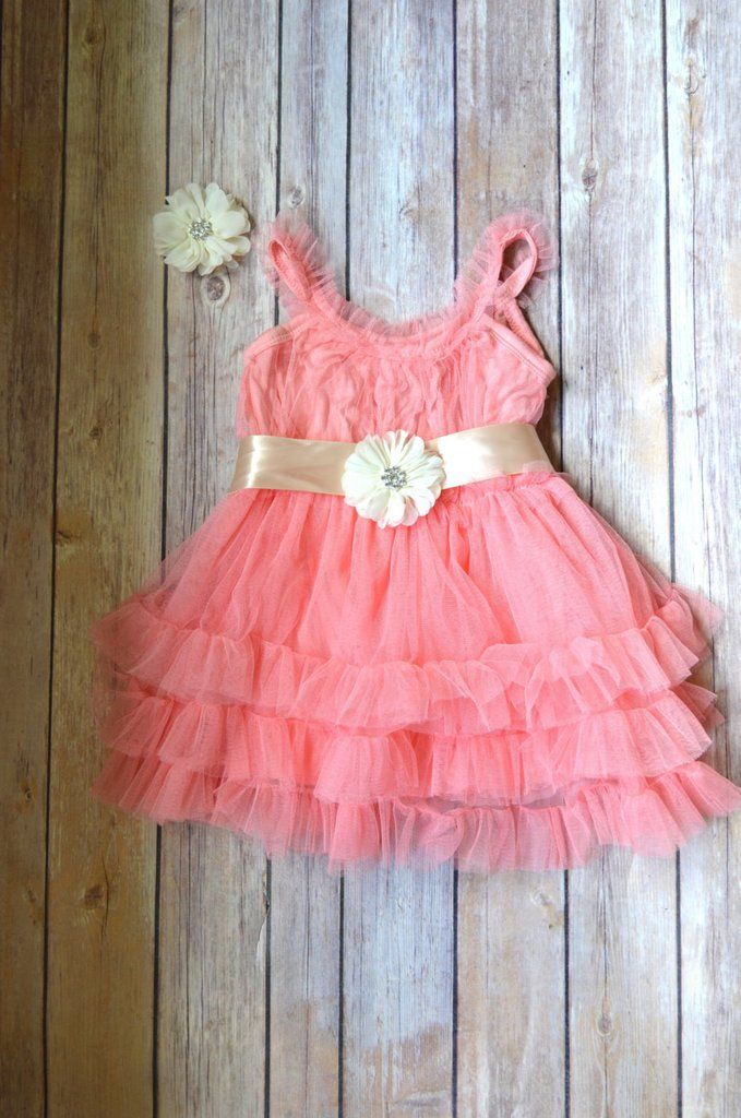 Coral Tulle Flower Girl Dress Hair clip set, Coral Wedding dress, Coral sun dress, Beach wedding , Vintage Style Petti Dress