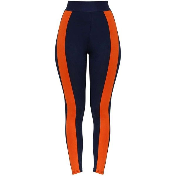 Navy Contrast Gym Leggings ($32) ❤ liked on Polyvore featuring pants, leggings, navy trousers, blue trousers, blue pants, navy leggings and legging pants