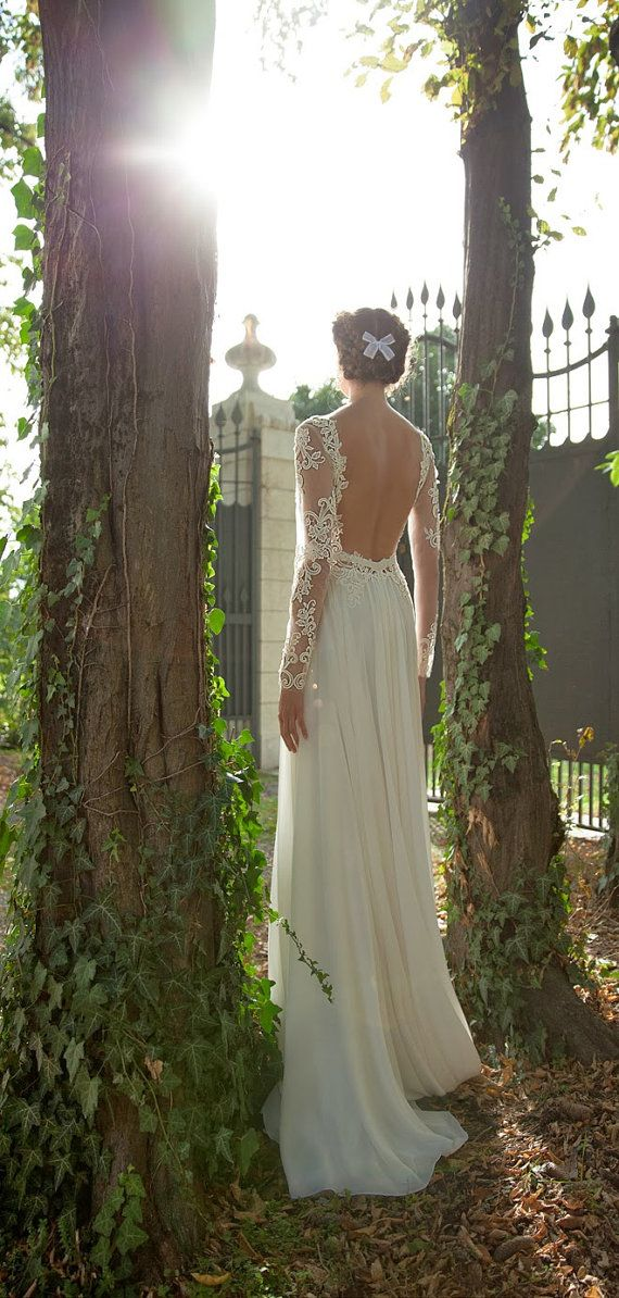 2014 new arrival lace sheer wedding dress/sheath by EternalBridal