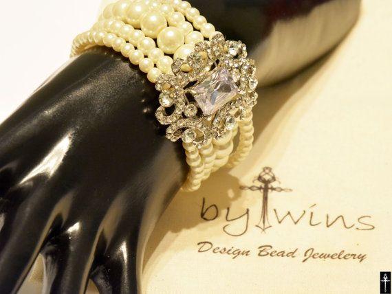 Bridal bracelet Wedding jewelrybridal jewelry Pearl by BYTWINS