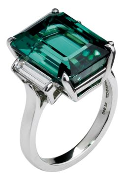 Tiffany & Co emerald-cut Tourmaline ring Set in platinum, £10,800. Also in other materials. Beautiful, but way way too pricey.