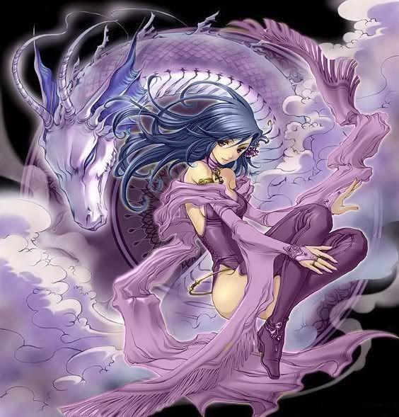 Anime girl and dragon