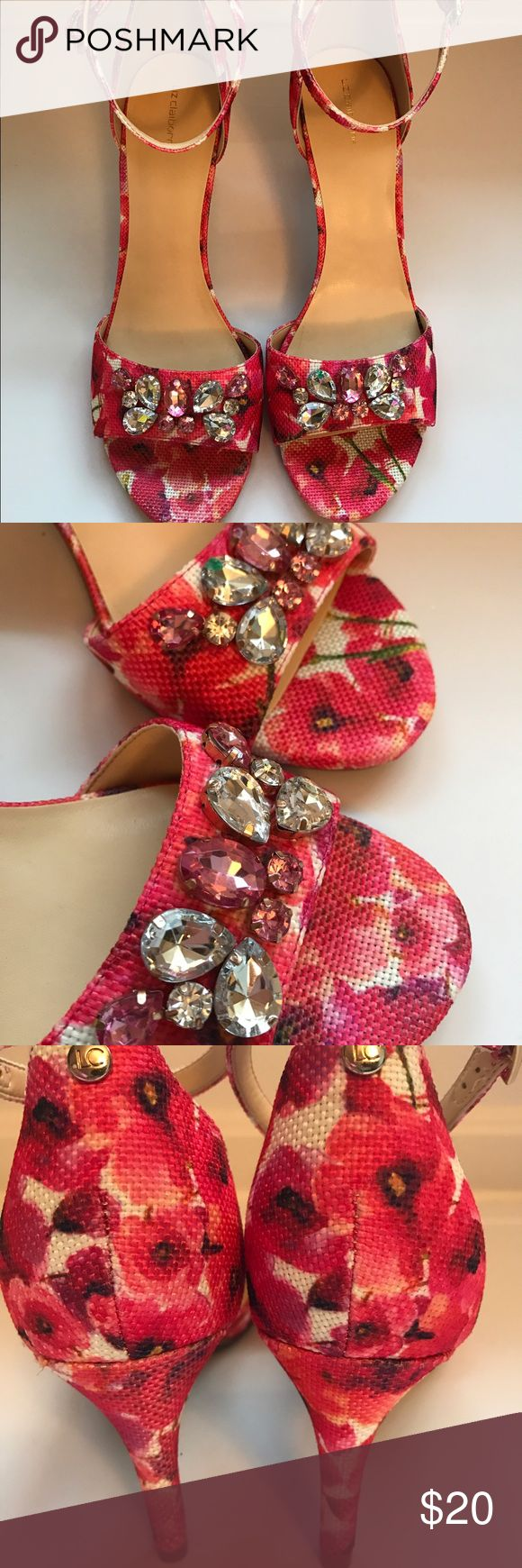 NIB New Floral strappy heels Easter pink Spring So fresh & pretty for Spring & Summer! New in box never worn pink floral pattern with ankle strap closure. Pink & silver jeweled accent   Open toe. Heel height 3.5 inches Liz Claiborne Shoes Heels