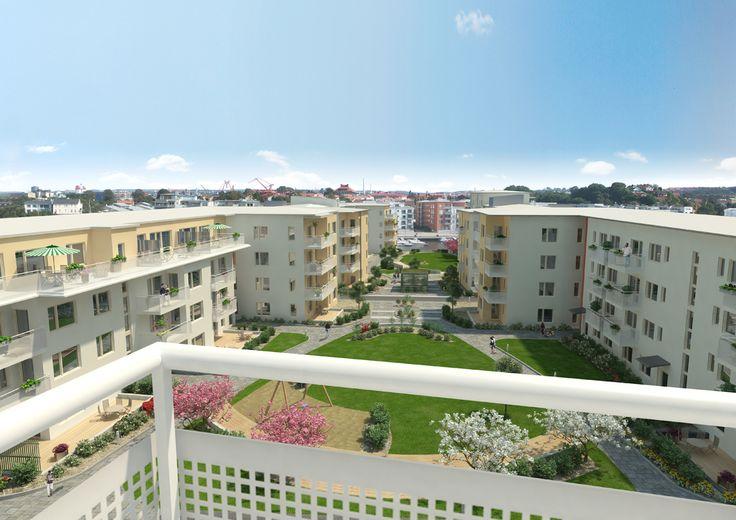 3D bild, utsikt från balkong, Riksbyggen