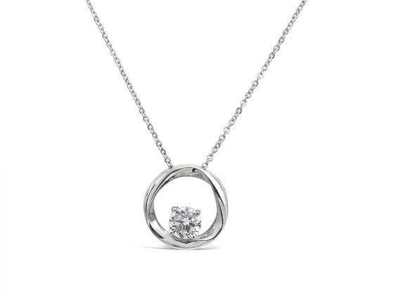 Sterling Silver Circle Pendant  Long Necklace by Siroccadiamond