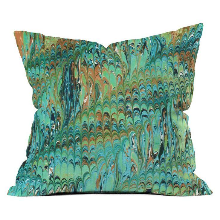 DENY Designs Amy Sia Marble Wave Sea Green Throw Pillow - 63036-OTHRP16