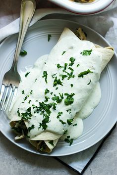 Spinach, Chicken and Cheese Enchiladas with Jalapeño Cream Cheese Sauce - Cooking for Keeps