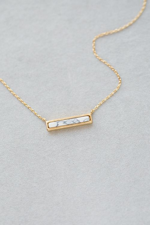 Gold & White Marble Bar Necklace