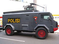 Indonesian Police riot control water cannon vehicle.