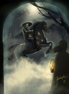 Leyenda del Charro Negro. Una de tantas noches, Adela se encontró en su camino con un hombre alto, de aspecto elegante, de impecable traje negro compuesto por una chaqueta corta, una camisa, un pantalón ajustado y un sombrero de ala ancha. Circulaba a lomo de un caballo enorme y de color azabache. Que impresionó a la joven al instante por su gran porte, mirada elocuente y palabras cálidas.