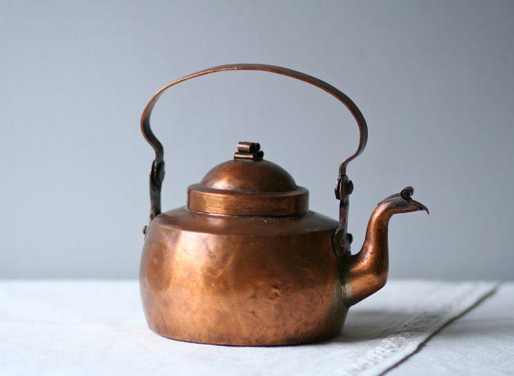 Antique Skultuna Swedish Copper Metal Tea Kettle Metals