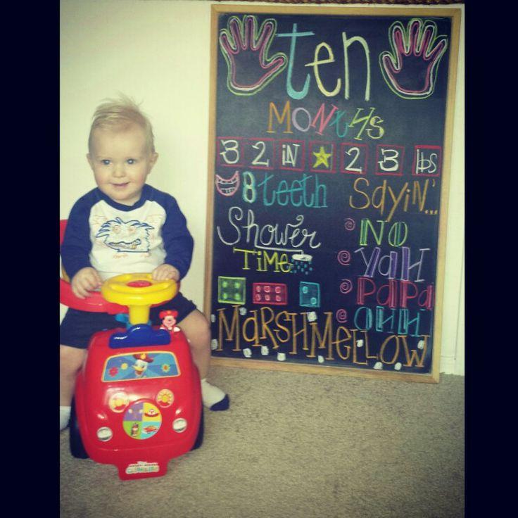 Kayden - 10 months chalkboard tracker pregnancy chalkboard baby countdown