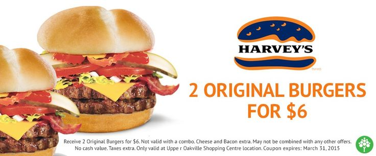 2 Original Burgers for $6 let's go to #Harveys for lunch today! #Oakville