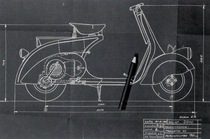 VESPA - 1946 April, 23 Designed by Corradino D'Ascanio & Enrico Piaggio (by Piaggio)