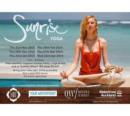 Sunrise yoga with WE'AR at Queens Wharf Auckland for 2014