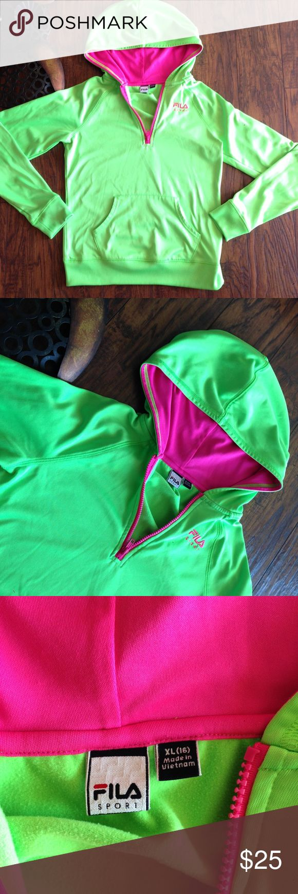 Girl fila zip up hoodie lime green pink size 16 Super cute girls size 16 zip up hoodie and lime green with hot pink lining Fila Shirts & Tops Sweatshirts & Hoodies