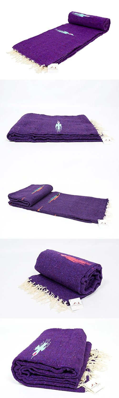 Purple Yoga Blanket -- Thick Mexican Thunderbird blanket -- Handmade and Made for Yoga!