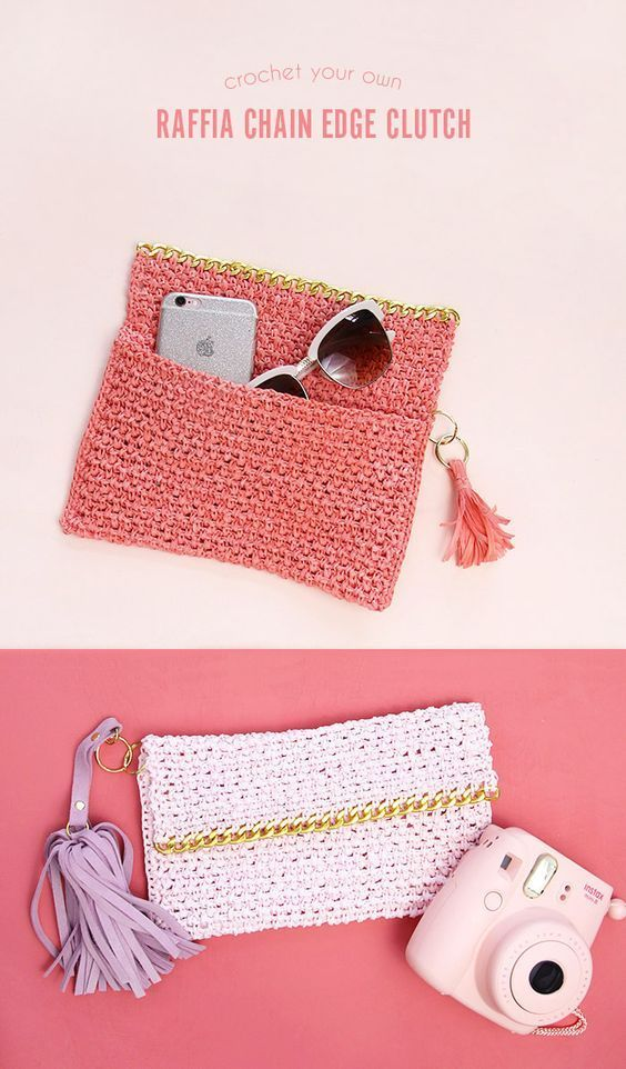 Chain Edge Raffia Crochet Clutch Pattern - love the gold chain detail
