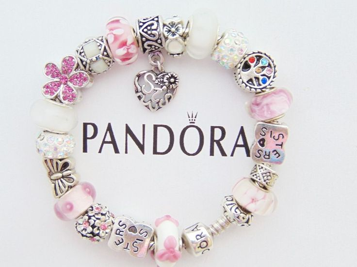 Authentic Pandora Sterling Silver Bracelet With European Charms Sister Family #PANDORA