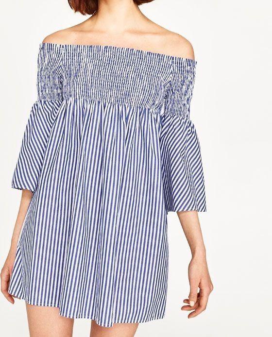 05524d668fd9 Zara Blue White Striped Off Shoulder Dress Bardot Dress Flare Bell ...