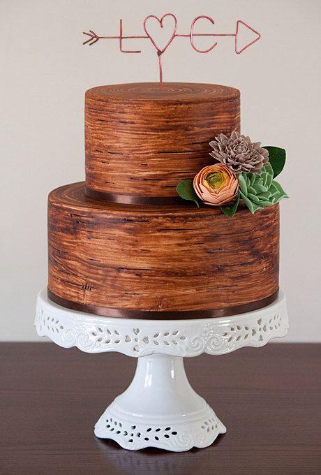 Wedding Cake Topper - Wire Cake Topper - Arrow & Initials Cake Topper - Personalized Cake Topper - Rustic Chic - Name Cake Topper door LeRusticChic op Etsy https://www.etsy.com/nl/listing/187991919/wedding-cake-topper-wire-cake-topper
