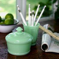 Jadeite Desk Set: Office Desks, Desk Accessories, Milk Glass, Jadeite Desk, Depression Glass