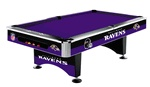 NFL - Baltimore Ravens 8 foot Slate Pool TableDescription and Features:The Baltimore Ravens NFL Billiard Table is an officially licensed 8' pool table from Imperial.  Your favorite team's official graphics are added to the table with a heat bonding process and protected with scratch-resistant Lexan.  This beautiful billiards table will make an excellent and practical addition to any game room!Product Details:   Handsome 8' Pool Table with outside dimensions of 58'' x 102''