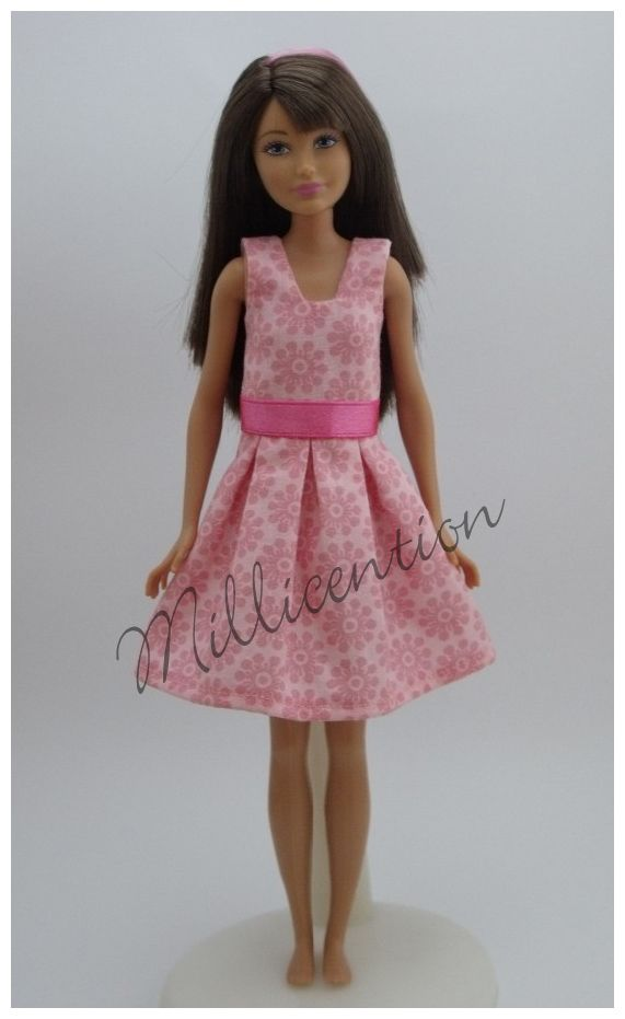 Pink floral Skipper doll dress