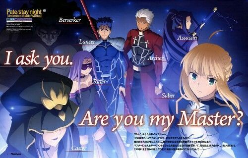 Fate/stay night (Saber, Caster (Fate/stay night), Archer (Fate/stay night), Lancer (Fate/stay night), Rider (Fate/stay night), Assassin (Fate/stay night), Berserker (Fate/stay night))