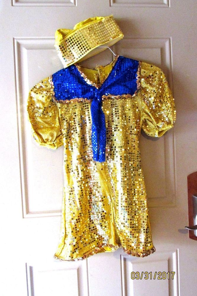 Sailor Nautical Dance Theatrical Halloween Costume Gold Blue #Unbranded